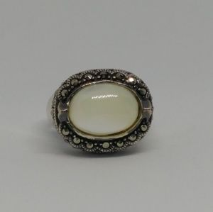Mother of Pearl Marcasite Sterling Silver Ring